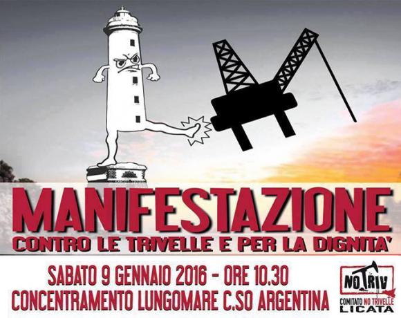 Locandina della manifestazione contro le trivellazioni a Licata