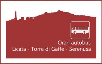 Locandina degli orari degli autobus da Licata verso le zone di mare